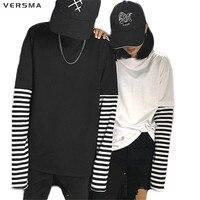 Versma 2017 Corea Harajuku negro blanco rayas hip hop Camisetas hombres mujeres otoño falso dos piezas extra largo manga suelta camiseta