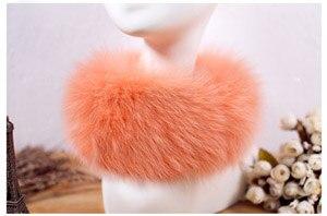SCM043 шарф из лисьего меха шарфы-повязки на шею теплая накидка шаль-пончо снуд много цветов 57*12 см - Цвет: orange