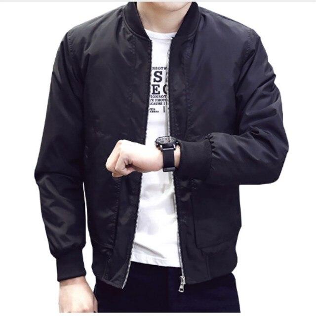 2019 Spring Autumn Casual Solid Slim Bomber Jacket Men Fashion Overcoat Baseball Jackets Men's Streetwear Jacket
