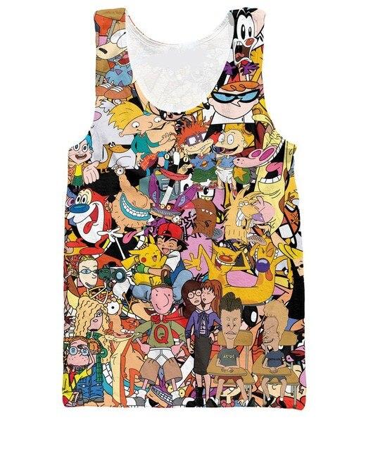 Mujeres hombres 3d de dibujos animados totalmente 90 s camiseta Rugrats Pokemon Tank Top moda chaleco ropa de verano Tops estilo