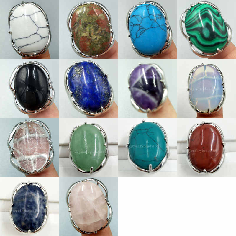 "Malachite Howlite คริสตัล Unikate โอปอล Jaspe Carnelian ธรรมชาติ Lapis Lazuli แหวนลูกปัด 6.5 ~ 12 ""US ปรับ MC3928"