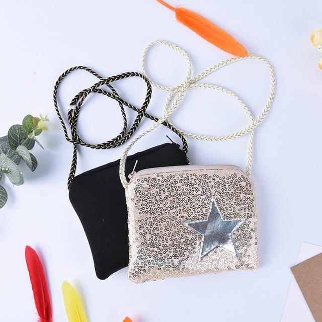 1PCS Girl Coin Purse Children's Wallet Small Change Purse Kid Bag Coin Pouch Money Holder Kawaii Sequined Star Baby Handbag