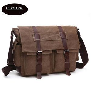 lebolong Canvas Messenger Bags Men Vintage Crossbody Bag 97a96065ed
