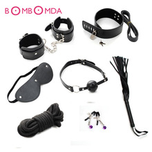 7pcs/Set Black Handcuffs Gag Nipple Clamps Whip Collar Erotic Toy Leather Fetish Sex Bondage Restraint Sex Toys for Couples O3
