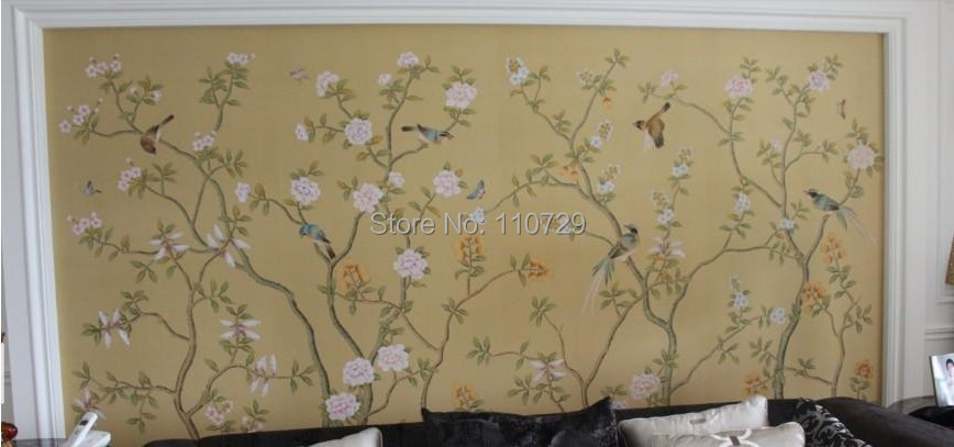 Southeast asia style hand painted silk wallpaper painting for East asian decor