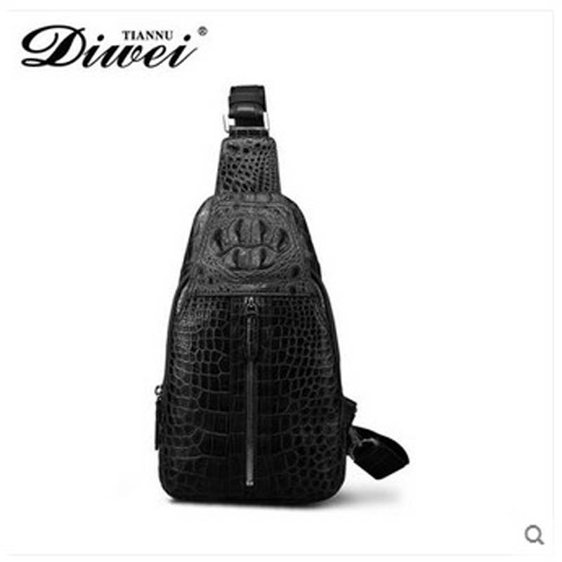 diwei 2018 new hot free shipping really crocodile chest bag men singles shoulder bag fashion bag business casual men bag genuine honda 66401 sb3 680zc glove box