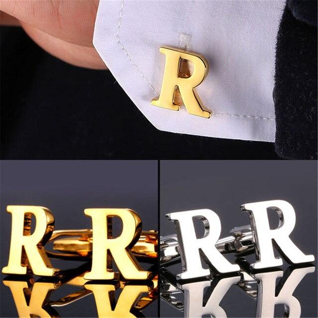 Alphabet R Letter Golden Silver Cufflink For men