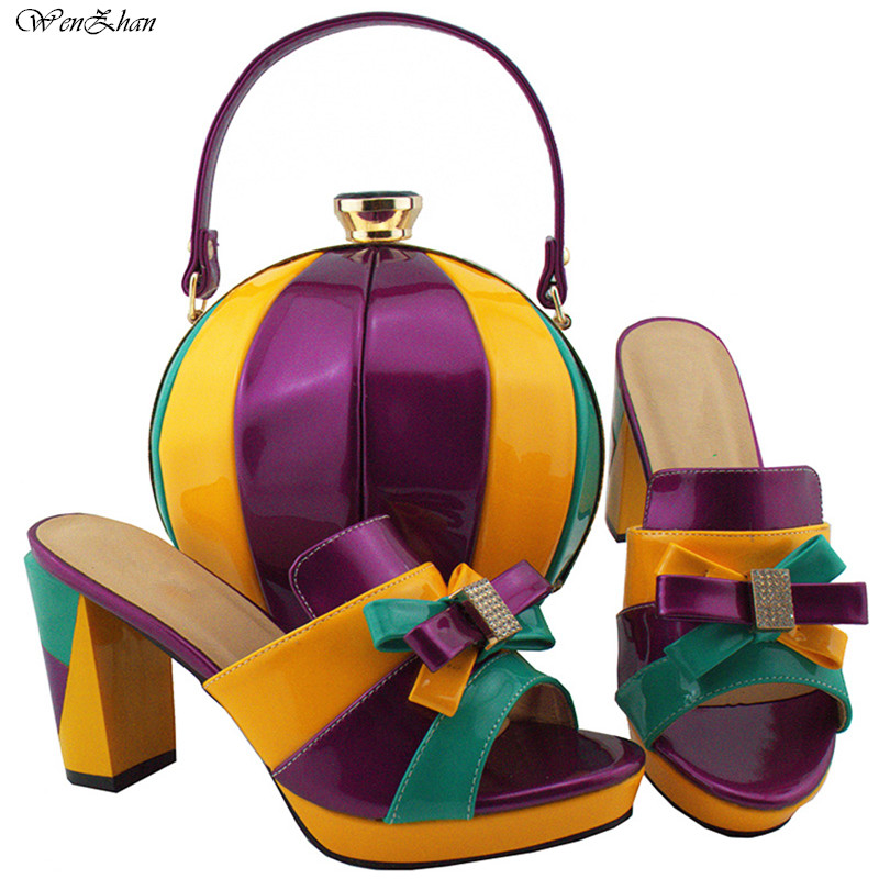 2018Fashion shoes and bag sets with unique colorful PU leather Africa Ladies high heel shoes 9cm with matching party bag B85-15 g41 wonderful pattern european ladies shoes and bags sets with stone high quality women high heel with bag sets free shipping