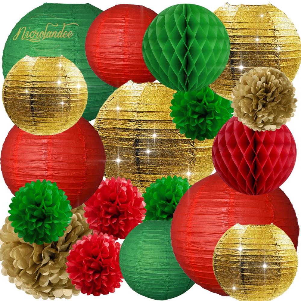 NICROLANDEE 18 pçs/set Lanternas de Papel Flor Pompom Natal Decorações Do Partido Árvore DIY Decoração Nova Decoração da Casa