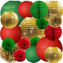 NICROLANDEE 18 pcs/set Paper Lanterns Flower Pompom Christmas Tree Decorations Party DIY New Decor Decoration Home
