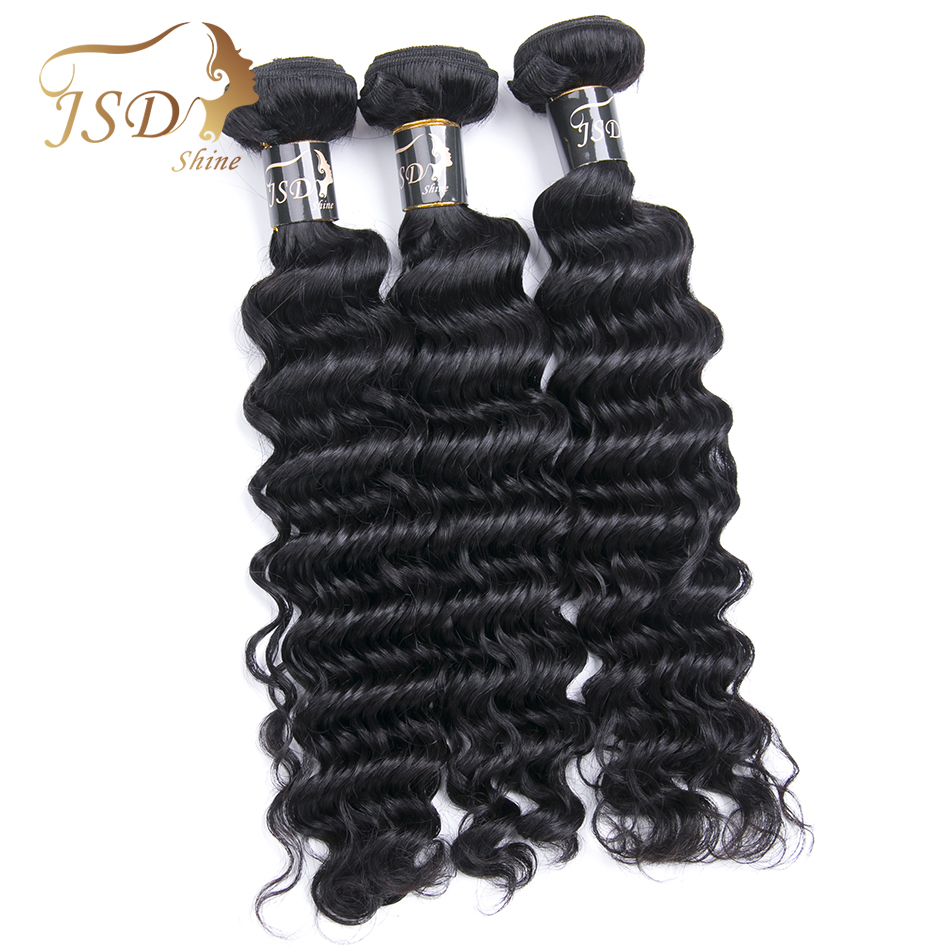 JSDshine Mongolian Deep Wave 3 Bundle Deals Wet and Wavy Human Hair Extensions Double Weft Non Remy Mongolian Hair Weave Bundles