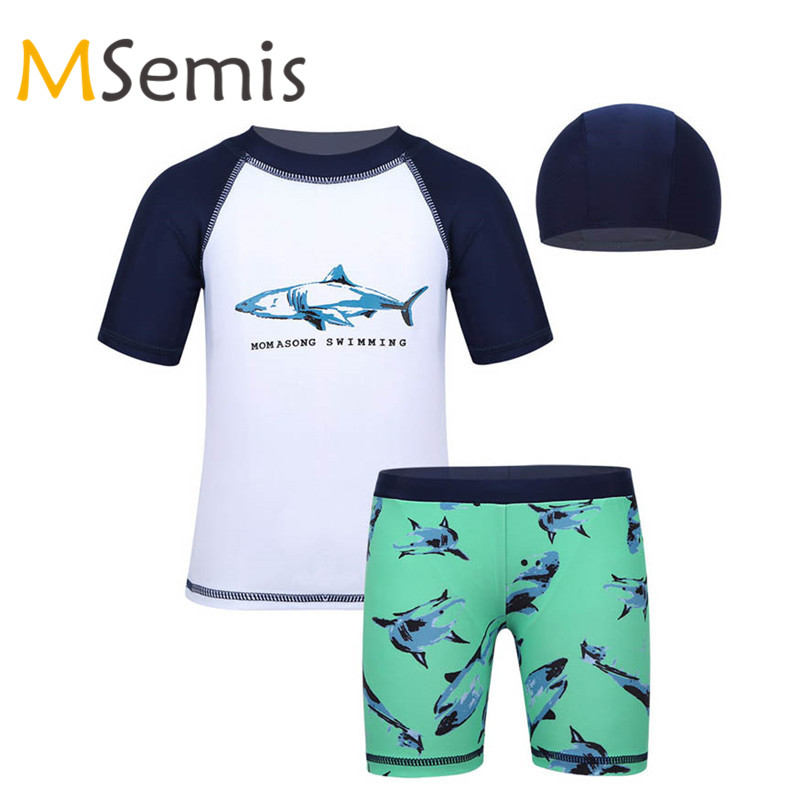 Shoes 3pcs Swimwear Kids Boys Swimsuit Tankini Shark Pattern Tops With Bottoms Swimming Cap Set Childrens Swimsuit Boys Bathing Suit Beautiful And Charming