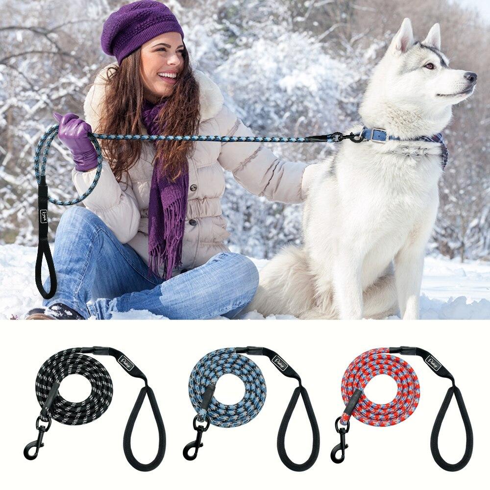 Nylon reflectante correa del perro entrenamiento del animal doméstico correas de seguridad 6ft larga escalada cuerda del perro para pequeños perros grandes de tamaño medio