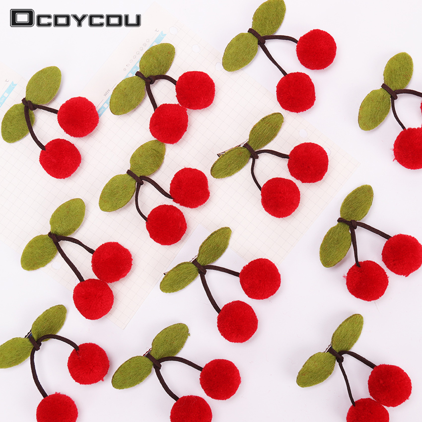 Sweet Cherry Leaves Barrette Bowknot Hairpins Leaf Hair Clip Kids Red Ball Barrette Hair Accessories for Girl   Headwear