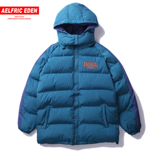 2018 Winter Hip Hop Removable Hooded Padded Thick Mens Parkas Patchwork Casual Warm Windbreaker Jackets Coat UN13