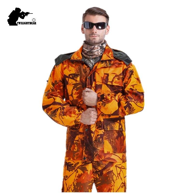 MULTICAM Uniforme Bionique Camouflage Tactique Costumes Orange Mince Graisse Camo Sniper Costume de Chasse Imperméable Vêtements L ~ 4XL CF121