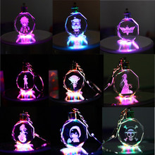 Key Chain Peach Heart Crystal Keychain Couples Party Gifts Colorful Flashing Led Lights
