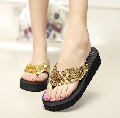 398ba3aa4e0 Glod Women Platform Sandals Wedge Flip Flops Sapato Feminino High Heel  slippers Sandalias Mujer Plataforma Chanclas