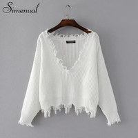 Simenual 2017 Autumn cropped sweater vintage fringe irregular slim women sweaters and pullovers white jumpers female knitwear