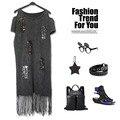 2016 панк-рок моды женщин платье кисточкой Футболка Блесток без бретелек повседневная кисточкой платье с плеча платья женщин