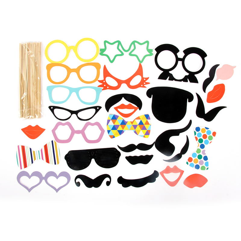 DIY Party Masks Photo Booth Props Mustache On A Stick Wedding Party 31PCS/Set free shipping oxford material wedding party decoration inflatable the photo booth