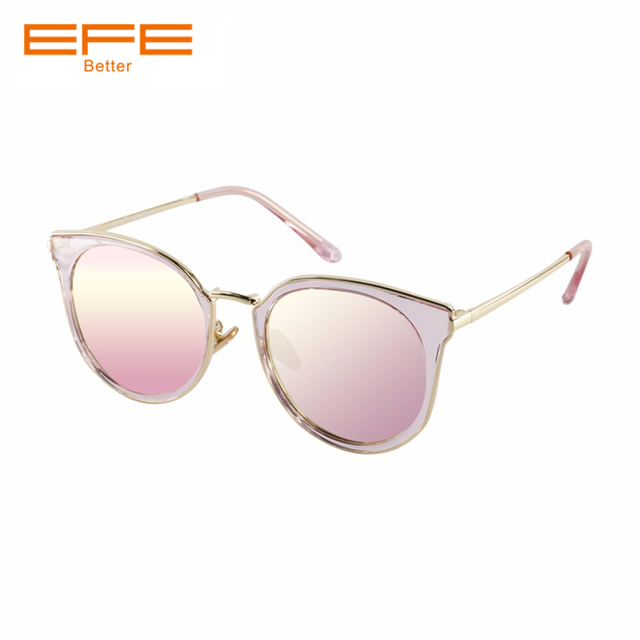40c92d5b6ede EFE Cat Eye Retro Brand Designer Black Pink Mirror Sunglasses For Women  Metal Reflective flat Lens Sun Glasses Female Oculos