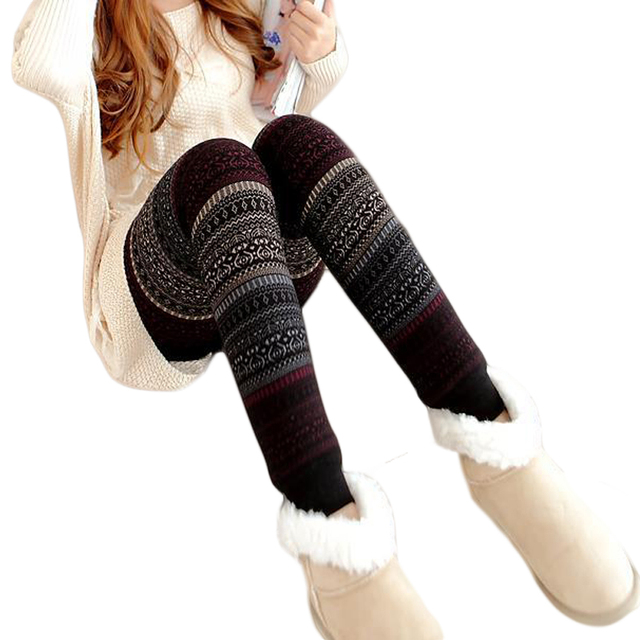 fd3d8f2bcc925 New 2019 Girls Christmas Winter Thick Warm Leggings For Women Black Fitness  Punk Velvet Fleece Lined Leggings CM1856