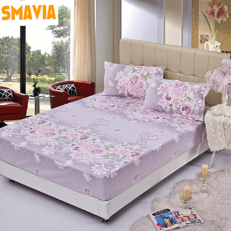 SMAVIA Printed Bed Fitted Sheet 3pc Bed sheet 120*200cm/150*200cm/180*200cm Bed Protection Pad Mattress sheet with 2 pillowcase
