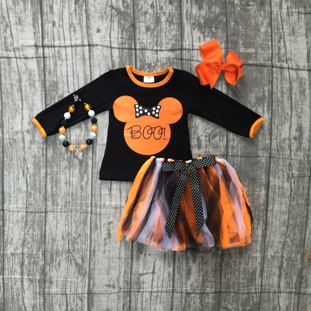 Fall/winter Halloween baby girls BOO MOUSE outfits boutique clothes kids black orange cotton children skirt matching accessories