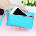 Azul de alta Qualidade PU Tampa Da Caixa de Telefone Carteira de Couro Bolsa para samsung apple iphone 6 6 s plus mulheres mini bolsa da moeda da carteira