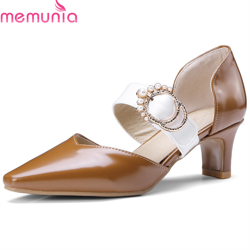 MEMUNIA 2018 new arrive women pumps top quality casual shoes fashion splice color classic buckle pointed toe high heels shoes memunia 2018 new arrive women pumps