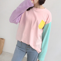 Autumn College Wind Soft Sister Korean Mixed Colors Hit Color Pocket Loose Round Neck Long Sleeved