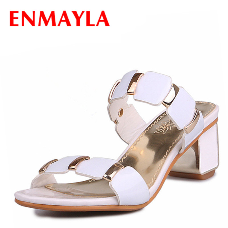 Airfour 2 Colors White Shoes Woman Big Size 34-43 Summer Sandals Slippers High Heels Open Toe Charms Casual Women