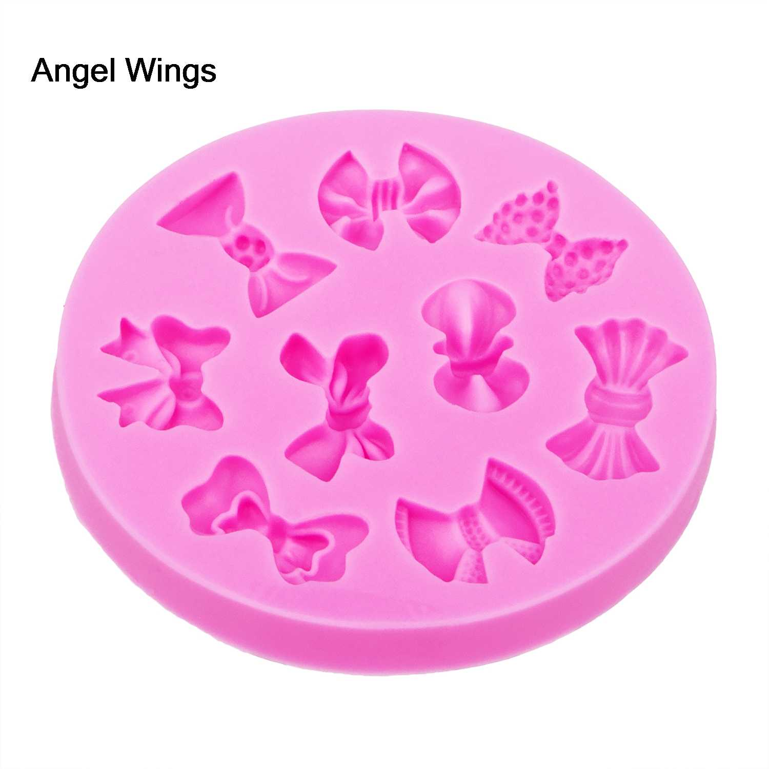 Angel Wings Food grade 3D fondant cake silicone mold bow-knot polymer clay chocolate pastry candy making decoration tools F1201