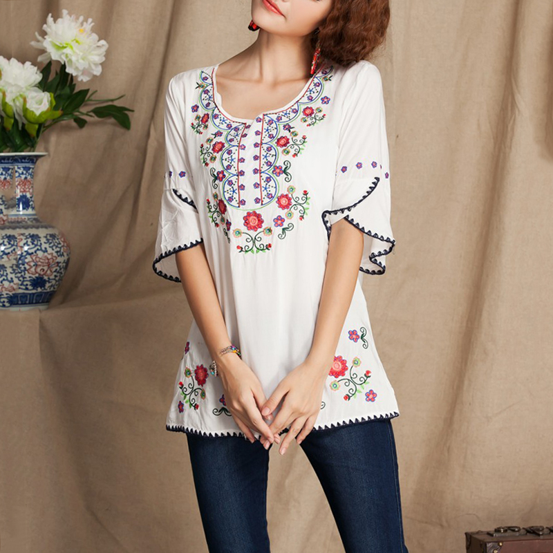 0e11f7338636c Plus Size Cotton Linen Blouses Female 2018 Summer Women s Casual Boho Ethnic  Floral Embroidered Blouse Shirts Oversized Tops w Plus Size Cotton Linen ...