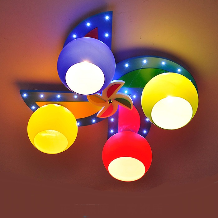 Kindergarten windmill children's room LED ceiling lights boys and girls bedroom creative cartoon color 4 heads ceiling lamps ZA