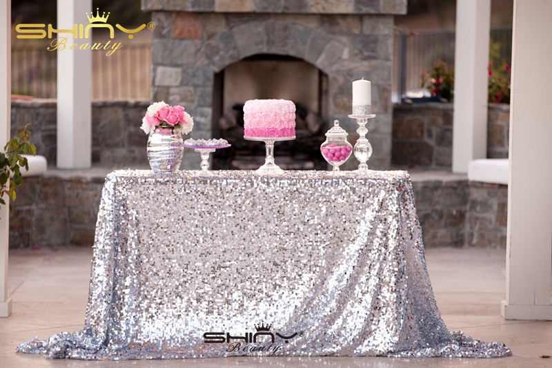 ShinyBeauty 60inx102in Sequin Tablecloth-Rectanglar-Silver-for Wedding/Christmas/Black Friday Party Linen (Silver)-am