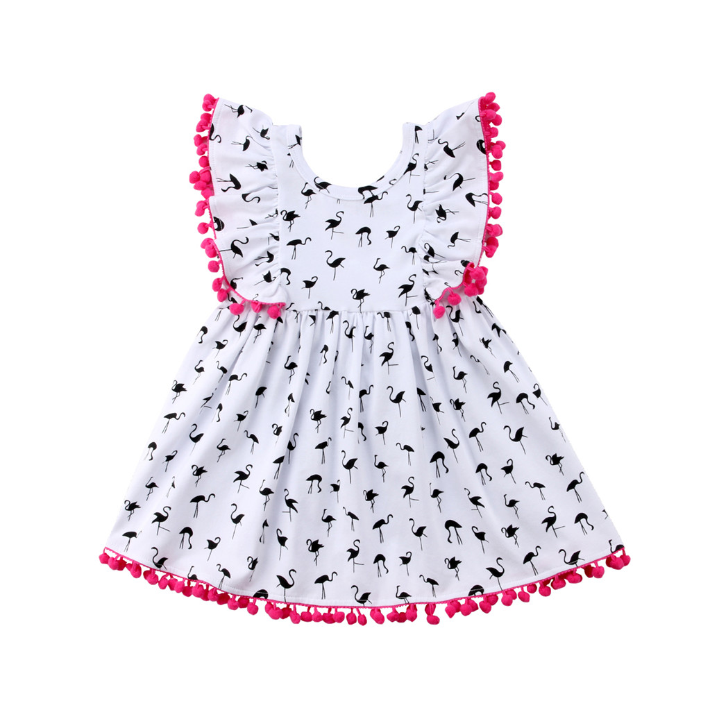 Toddler Kids Baby Girls Summer Flamingo Party Pageant Princess Dress Sundress