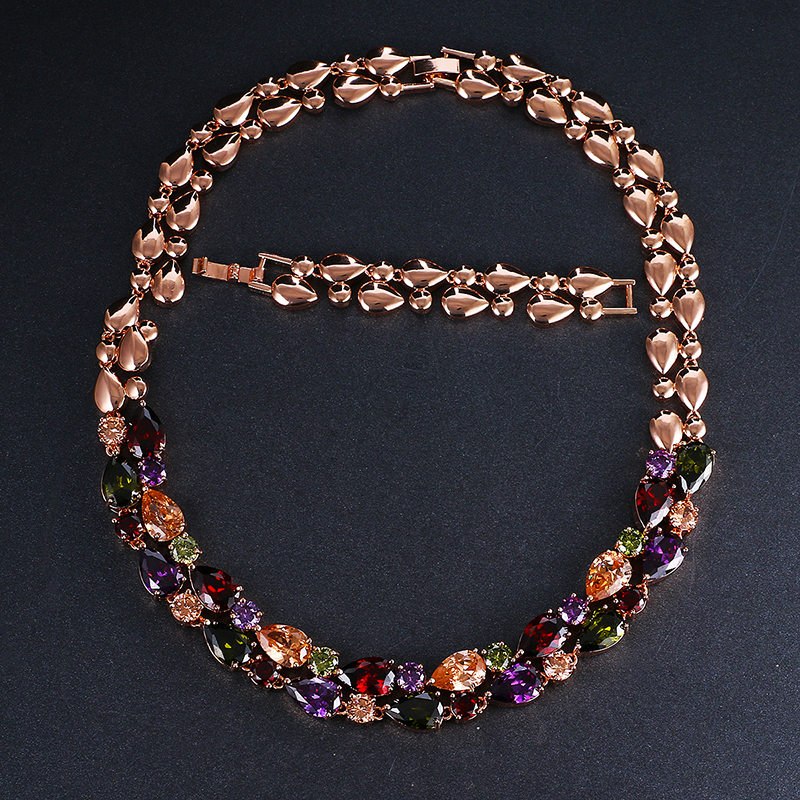 Emmaya Mona Lisa Bröllop Hänge Halsband Lång kedja med AAA Cubic Zirconia Fashion Collar Statement Women Necklace