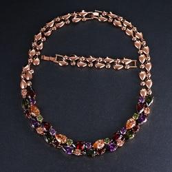 Emmaya Mona Lisa Wedding Pendant Necklace Long Chain with AAA Cubic Zirconia Fashion Collar Statement Women Necklace