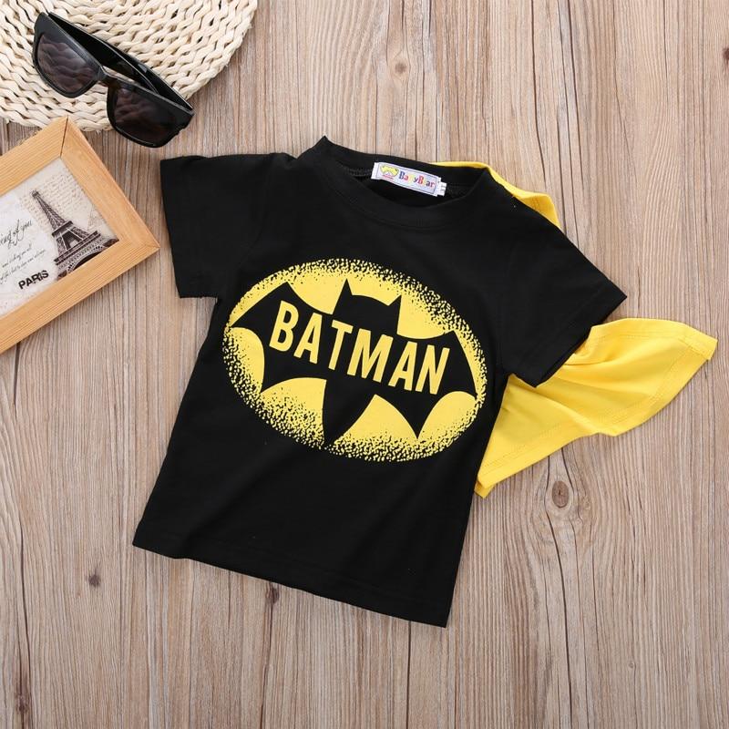 2016 Toddler Kids Boys Short Sleeve Superman Batmen T-Shirt Tees Costume Clothes Baby Boys Clothes Set Boys Clothing Set