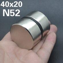 2pcs Ímã De Neodímio N52 40x20mm Super Strong Rodada Rare earth NdFeB Poderoso metal Gálio orador magnética N35 40*20 Disco mm