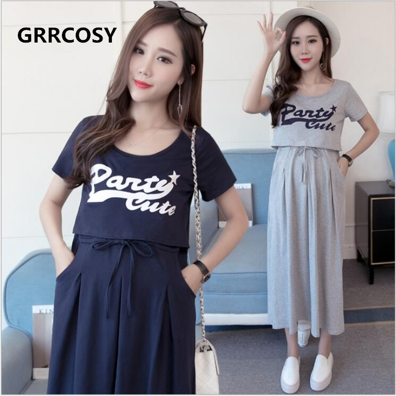 GRRCOSY Maternity Nursing Dresses With Pocket Two Piece Suit Clothes T-shirt For Pregnant Women Long Style Pregnancy Dress