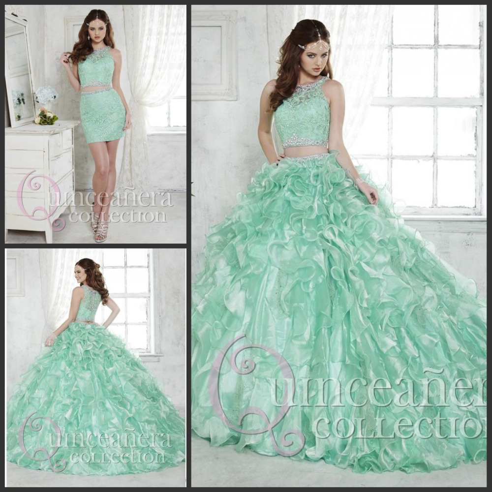 e1b347588f8 2017 Two Pieces Quinceanera Dresses Mint Green Organza Ruffle Skirt Sweet  16 Ball Gown Prom Dresses with Detachable Skirt Party-in Quinceanera Dresses  from ...