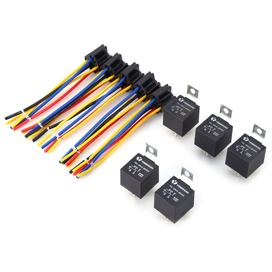 5PCS/lot Car Auto Truck 12V 12 Volt DC 40A AMP Relay & Socket SPDT