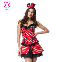 Sexy Miss Mouse Costume Adult Fairy Tale Fantasias Anime Cosplay Polka Dot Corset Skirt Fancy Dress