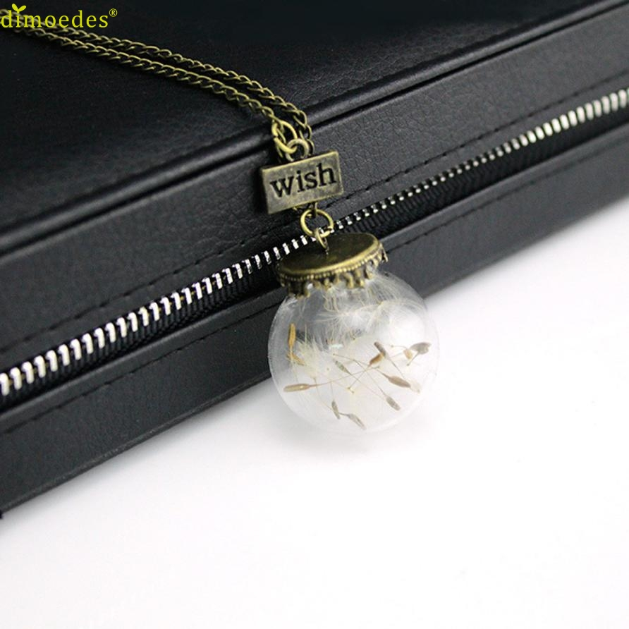 Diomedes Newest Special Design Flower Glass Pendant Necklace Woemn Fashion Real Natural Flowers Glass Pendant Necklace