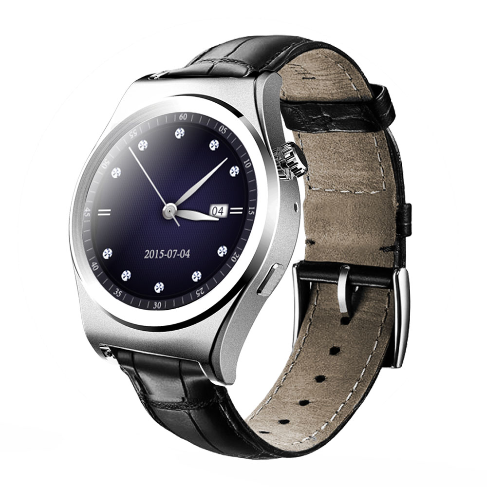 Luxury Bluetooth Smart Watch Wristwatch with Multi Language Surpport Heart Rate Monitor Touch Screen Leather font