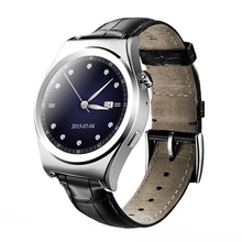 Luxus Bluetooth Smart Watch Armbanduhr mit Multi Sprache Surpport Pulsmesser Touchscreen Leder Smartwatch X10
