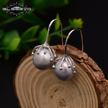 Купить с кэшбэком GLSEEVO Natural Fresh Water Baroque Gray Pearl Handmade Earrings Hook For Women Luxury Jewellery Oorbellen Voor Vrouwen GE0335B